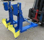 2-DLR-WP STANDARD RIM GRIP DOUBLE DRUM HANDLER FORK ATTACHMENT WITH WEBBING DRUM SUPPORTS x150
